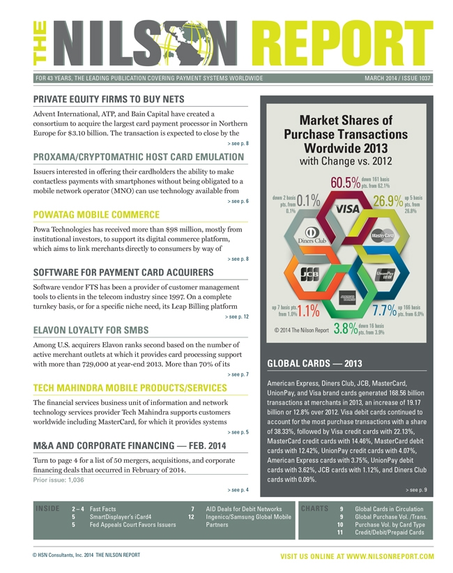 Card and Mobile Payment Industry News   The Nilson Report ...