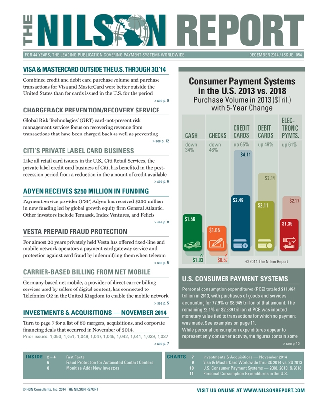 Card And Mobile Payment Industry News The Nilson Report